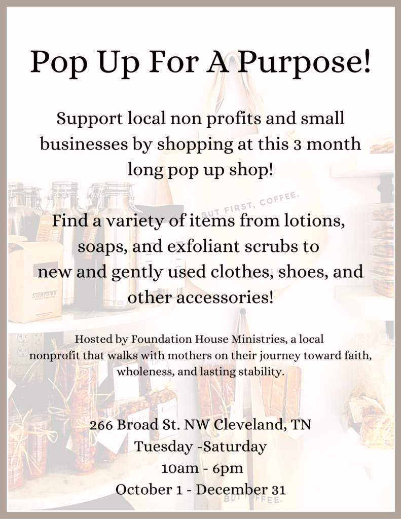 Pop Up For Purpose Vendor Booths Available 10/1-12/31/2020